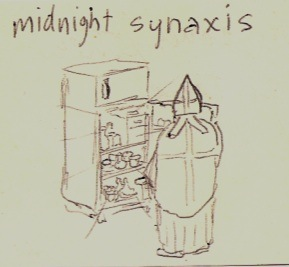 Practically unrelated except for the refrigerater...a seminary-class doodle from the mid 1980s