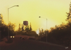 Sunrise behind the water tower
